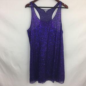 Victoria's Secret Sheer Purple Sequin Nightgown L